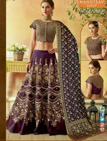Splendid MAH7820 Wedding Wear Purple Silk Lehenga Choli - Fashion Nation