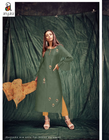 Trendy A2Z78 Casual Wear Green Silk Kurta with Yellow Stole by Fashion Nation