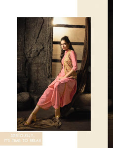 Indo Western MAI7902 Readymade Pink Multicoloured Linen Cotton Kurta Set with Jacket by Fashion Nation