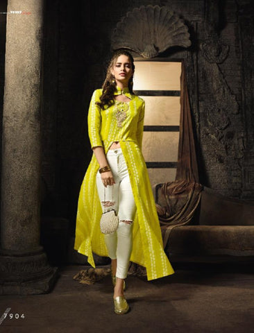 Indo Western MAI7904 Readymade Yellow White Cotton Satin Front Slit Long Dress by Fashion Nation