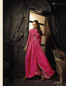 Indo Western MAI7905 Readymade Pink Viscose Georgette Front Slit Long Dress by Fashion Nation
