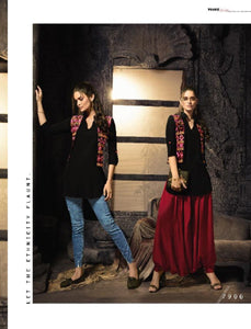 Indo Western MAI7906 Readymade Black Multicoloured Cotton Silk Kurta Patiala with Jacket by Fashion Nation