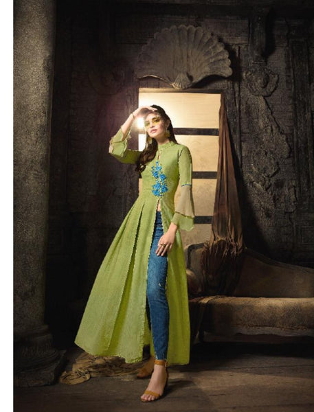 Indo Western MAI7907 Readymade Green Linen Cotton Front Slit Long Dress - Fashion Nation