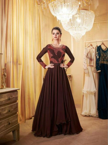 Charming Indo Western LD8106 Georgette Silk Anarkali Gown by Fashion Nation