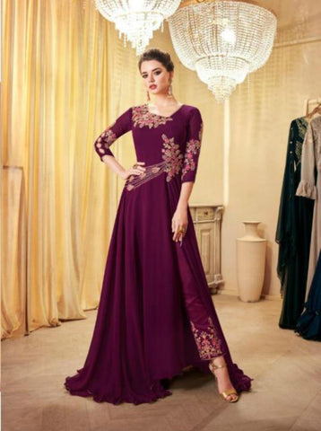 Designer Indo Western LD8107 Purple Georgette Silk Anarkali with Pants by Fashion Nation