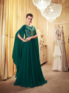 Stylish Indo Western LD8108 Green Georgette Silk Anarkali Gown by Fashion Nation