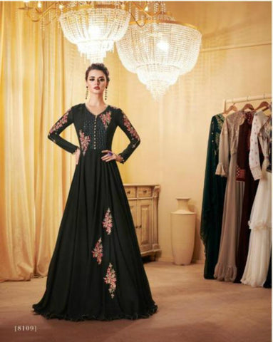 Partywear Indo Western LD8109 Black Georgette Silk Anarkali Gown by Fashion Nation