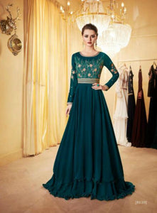 Pretty Indo Western LD8110 Blue Georgette Silk Anarkali Gown by Fashion Nation