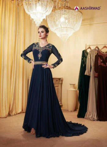 Dreamy Indo Western LD8111 Blue Georgette Silk Anarkali Gown by Fashion Nation