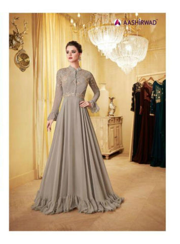 Gorgeous Indo Western LD8112 Grey Georgette Silk Anarkali Gown - Fashion Nation