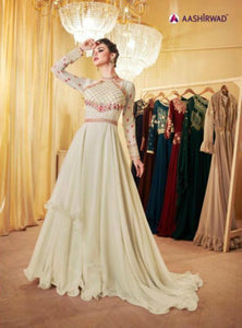 Classy Indo Western LD8113 Cream Georgette Silk Anarkali Gown by Fashion Nation
