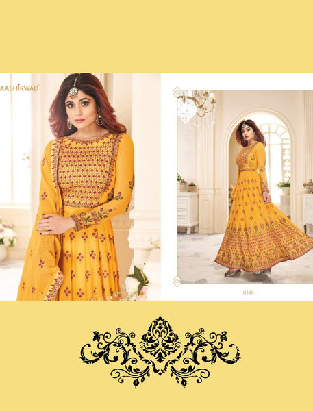 Shamita Shetty 8148 Yellow Georgette Silk Abaya Style Anarkali Suit - Fashion Nation