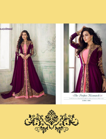 Royal 8203 Pink Purple Georgette Silk Abaya Style Anarkali Suit with Long Jacket - Fashion Nation