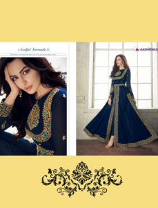 Party Wear 8206 Indo Western Blue Georgette Silk Anarkali Suit with Pants - Fashion Nation