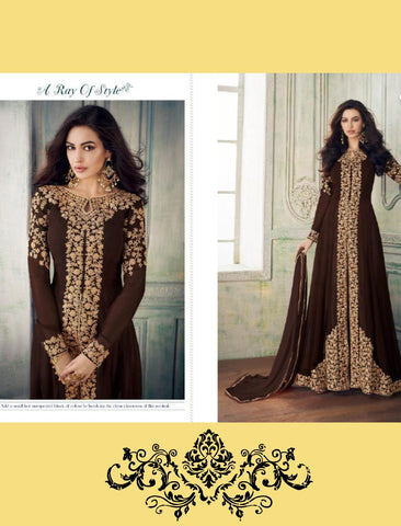 Cocktail Wear 8207 Indo Western Brown Georgette Silk Anarkali Suit with Pants - Fashion Nation