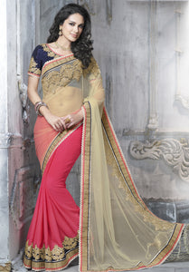 MU8802 Designer Pink Beige Georgette Net Saree - Fashion Nation