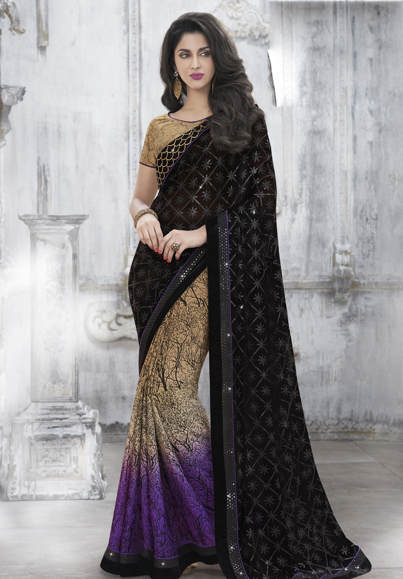 MU8814 Designer Shaded Purple Beige Black Georgette Silk Saree - Fashion Nation