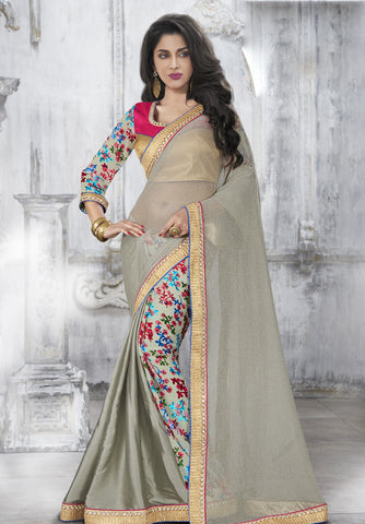 MU8817 Designer Grey MultiColoured Moss Georgette Silk Saree - Fashion Nation.in
