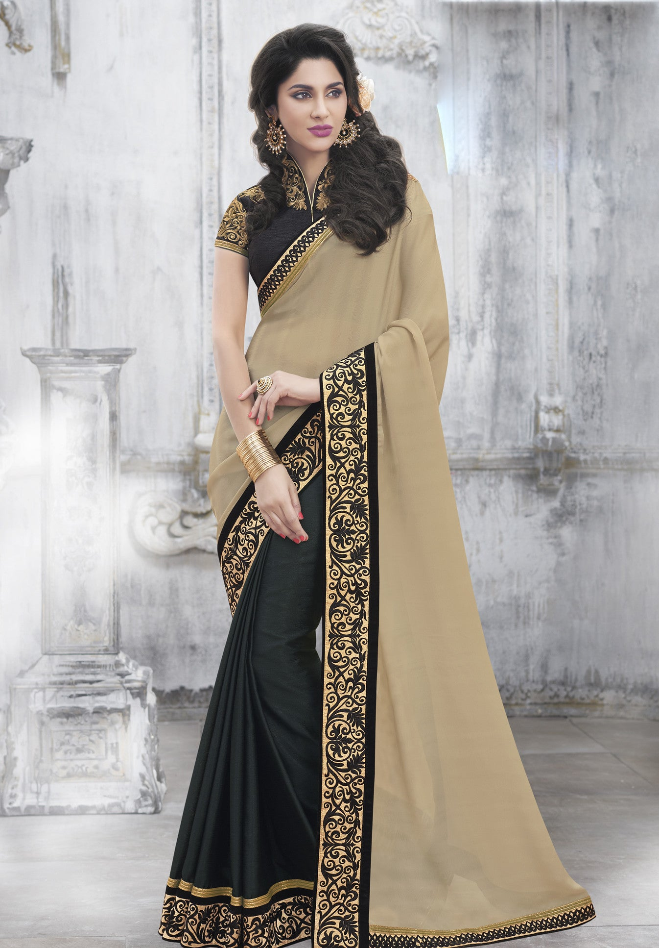 MU8821 Designer Beige Black Georgette Silk Saree - Fashion Nation.in