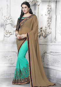 MU8823 Designer Beige Aqua Chiffon Saree - Fashion Nation
