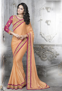 MU8827 Designer Pink Peach Silk Georgette Saree - Fashion Nation