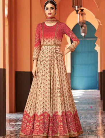 JIN8842 Shaded Maroon Pink Anarkali Gown for Online Sales by Fashion Nation