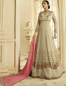 Simple PRN8844 Elegant Cream Pink Georgette Silk Floor Length Anarkali Gown by Fashion Nation