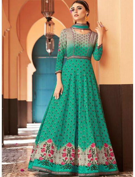 JIN8844 Green Anarkali Gown for Online Sales by Fashion Nation