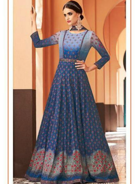JIN8845 Shaded Dark Blue Anarkali Gown - Online Sales by Fashion Nation