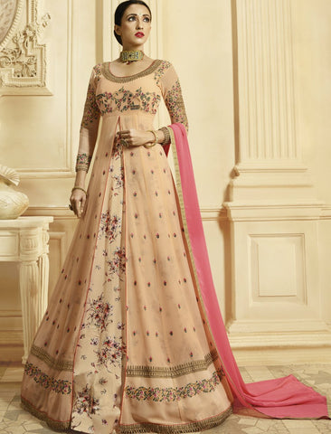 Dainty PRN8847 Latest Peach Pink Georgette Silk Floor Length Anarkali Gown by Fashion Nation