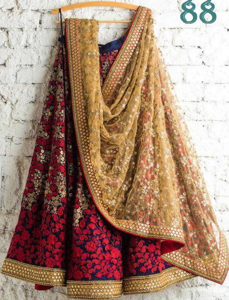 Designer 88 Bollywood Inspired Multicoloured Silk Beige Net Lehenga Choli - Fashion Nation