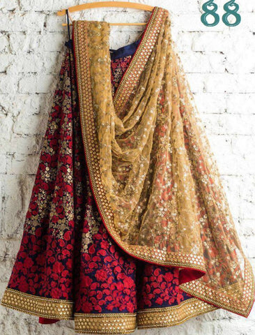 Designer 88 Bollywood Inspired Multicoloured Silk Beige Net Lehenga Choli by Fashion Nation