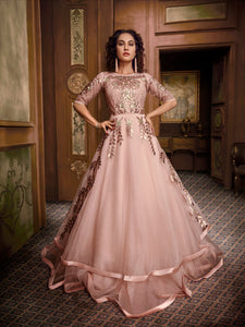 Designer Indo Western TH89661 Cocktail Wear Pink Silk Net Gown - Fashion Nation