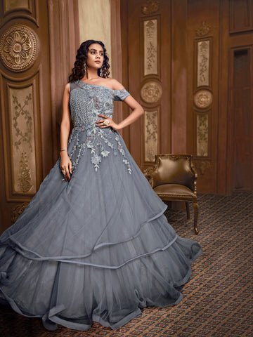 Celestial Indo Western TH89662 Cocktail Wear Grey Silk Net Layered Gown - Fashion Nation.in