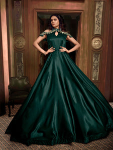 Extraordinary Indo Western TH89663 Cocktail Wear Green Silk Gown - Fashion Nation.in