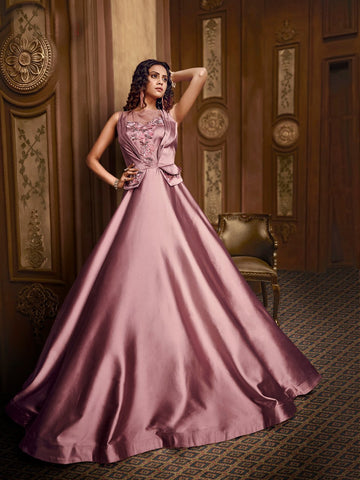 Impressive Indo Western TH89664 Cocktail Wear Rose Pink Silk Net Gown - Fashion Nation