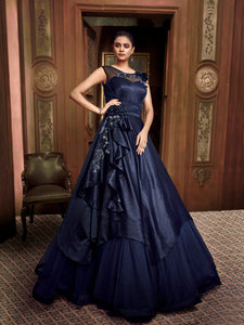 Magnificent Indo Western TH89665 Cocktail Wear Blue Silk Net Layered Gown - Fashion Nation.in