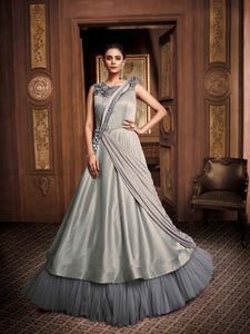 Royal Indo Western TH89666 Cocktail Wear Grey Silk Net Layered Gown - Fashion Nation.in
