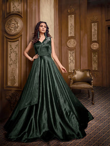 Superb Indo Western TH89667 Cocktail Wear Green Lycra Silk Layered Gown - Fashion Nation.in