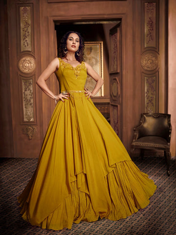 Festive Indo Western TH89668 Cocktail Wear Mustard Yellow Silk Layered Gown - Fashion Nation.in