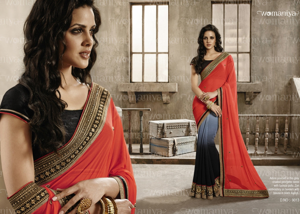 NAK9013 Designer Vikram Phadnis Nakkashi Indian Party Wear Traditional Saree - Fashion Nation