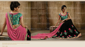 NAK9024 Designer Vikram Phadnis Nakkashi Black Pink Georgette Saree - Fashion Nation