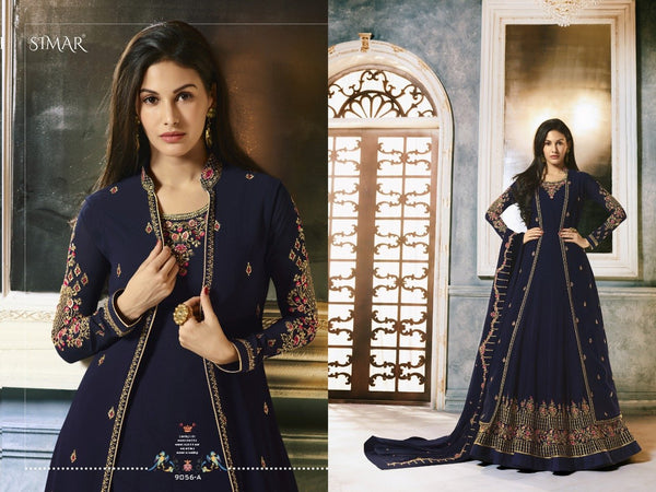 Beautiful Indo Western 9056A Blue Georgette Jacket Style Anarkali Gown - Fashion Nation.in