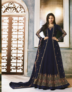 Beautiful Indo Western 9056A Blue Georgette Jacket Style Anarkali Gown - Fashion Nation