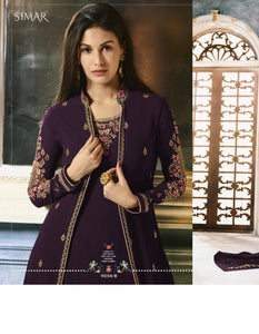 Charming Indo Western 9056B Burgundy Georgette Jacket Style Anarkali Gown - Fashion Nation