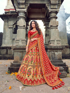 Bridal ROY90657 Designer Golden Red Banarasi Silk Lehenga Choli - Fashion Nation