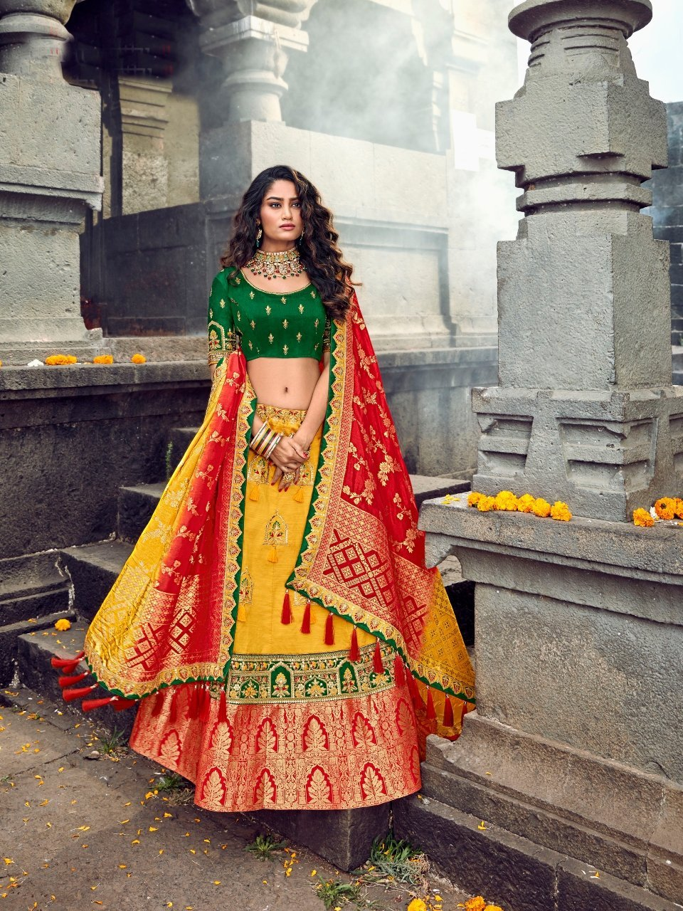 Wedding Special ROY90658 Designer Yellow Green Red Silk Lehenga Choli - Fashion Nation.in