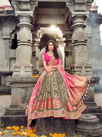 Indian ROY90661 Designer Grey Pink Silk Lehenga Choli - Fashion Nation.in