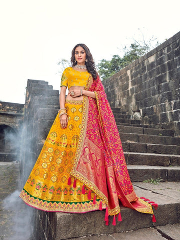 Royal ROY90662 Designer Yellow Pink Silk Lehenga Choli - Fashion Nation.in