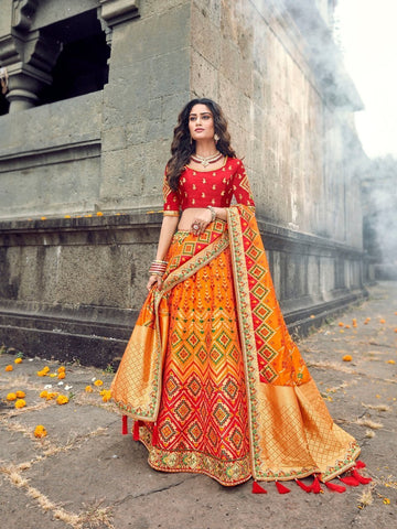 Bright ROY90663 Designer Shaded Orange Yellow Silk Lehenga Choli - Fashion Nation
